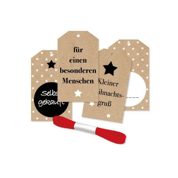 Geschenkanhänger kleiner Weihnachtsgruß, 4 Stück inkl. Satinband