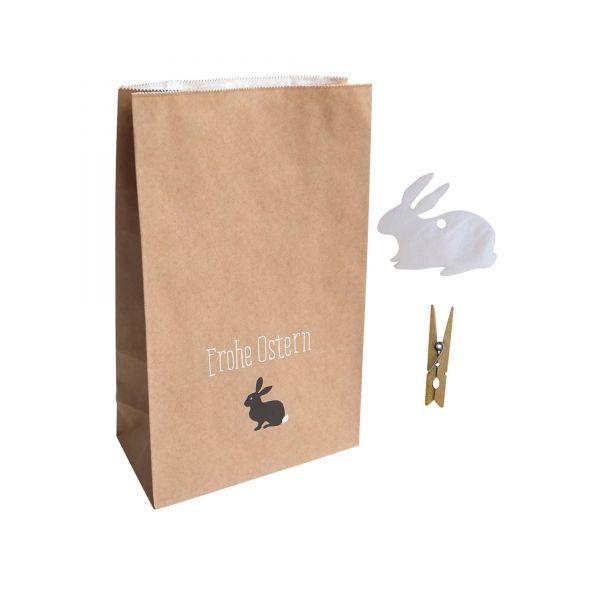 Geschenktüten-Set Frohe Ostern mit Holzklammer und Geschenkanhänger, 2 Stück