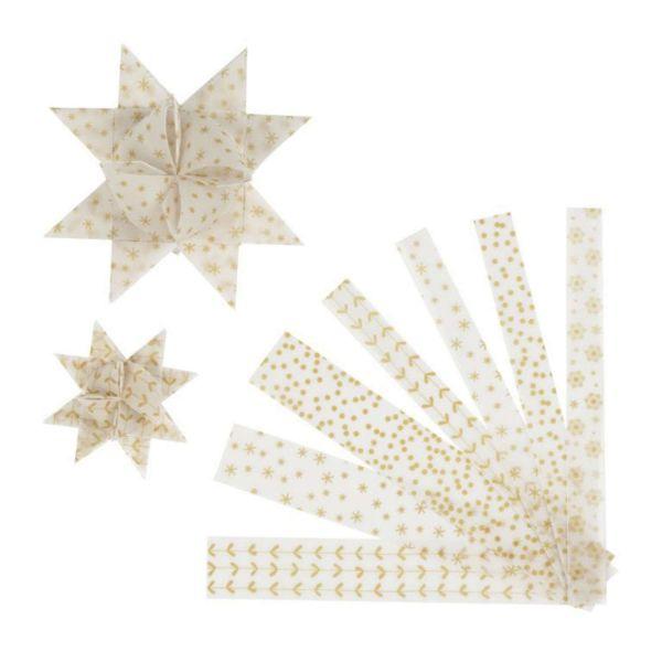 Fröbelsternstreifen weiß/gold, 48 Pergamentpapierstreifen