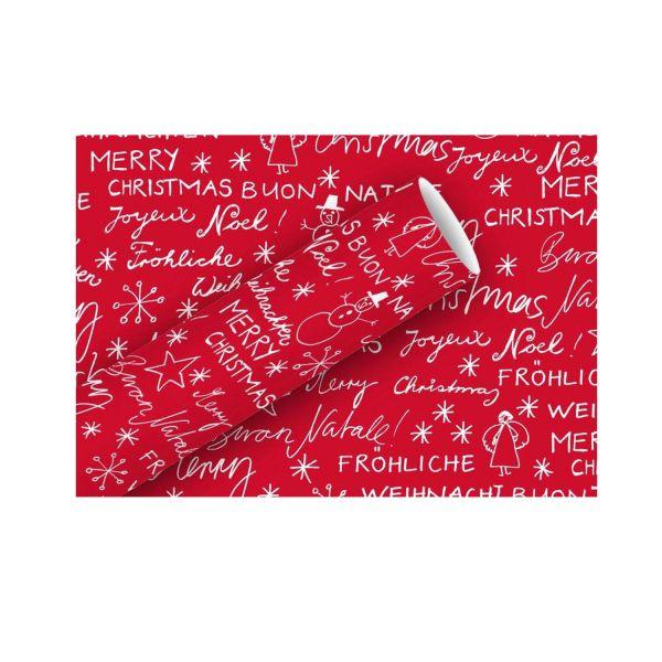 Geschenkpapier Merry Christmas, 70 cm x 2 m, rot-weiß