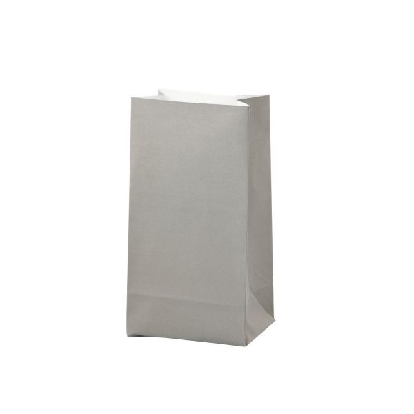 Blockbodenbeutel aus Papier, grau, B 9 x H 17 cm, 10 Stück