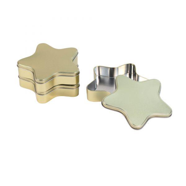 Keksdose Stern, gold, ca. 18,2 x 17,5 x 4 cm, 3 Stück
