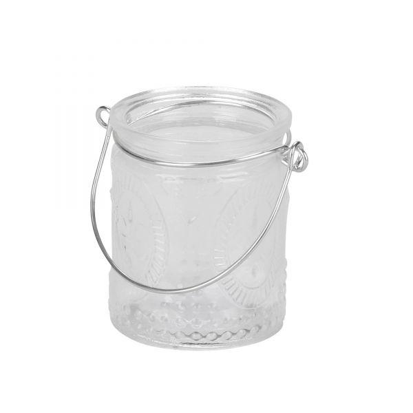 Mini Windlicht aus Glas Lilie mit silberfarbenen Henkel Glaslaterne, Ø ca. 6 cm, H ca. 7 cm