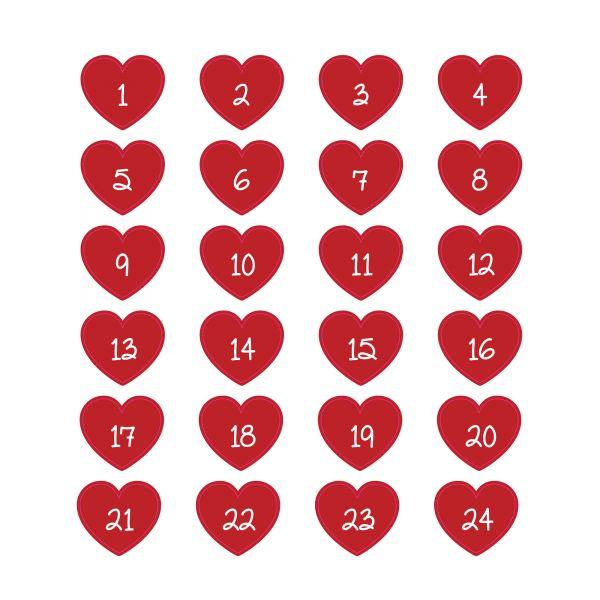 Adventskalenderzahlen Herz, selbstklebend, Ø ca. 2,5 cm