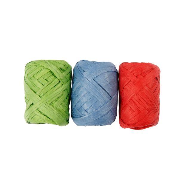 Papierbast, 3er-Set à 10m grün, blau, rot Geschenkband