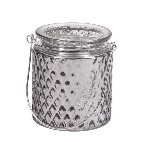 Windlicht Glaslaterne Raute silber Vintage, H 9 cm