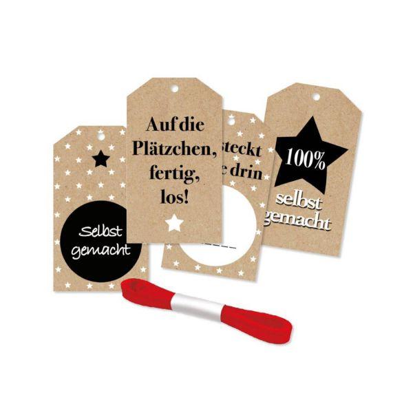 Geschenkanhänger da steckt Liebe drin, 4 Stück inkl. Satinband