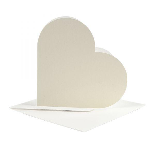 Kartenset Herz 12,5 x 12,5 cm, creme, 20-tlg