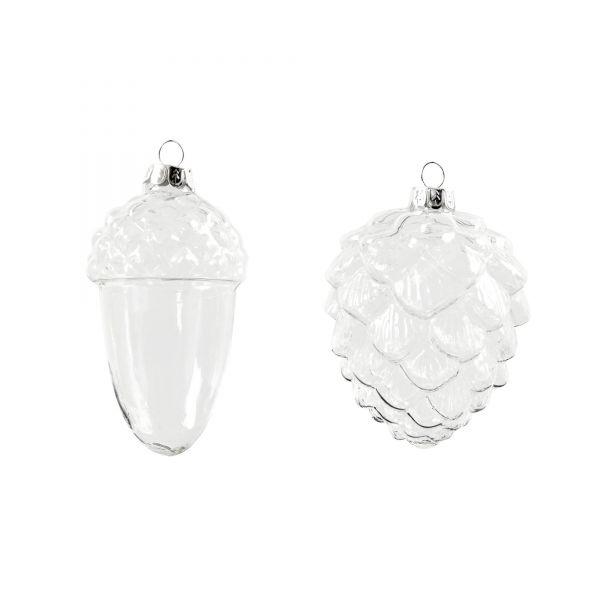 Eichel & Tannenzapfen aus Glas, H 9,5 und 10,5 cm, 4 Stück