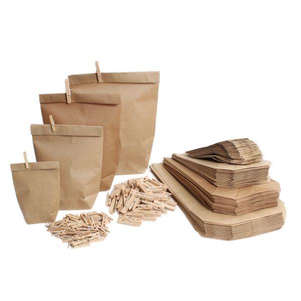 BODA Kraftpapierbeutel und Holzklammer MIX-Set, 200 tlg.