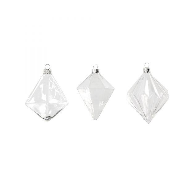 Weihnachtskugel aus Glas Prisma, H 9,6, 9,8 und 10,5 cm, 3 Stück