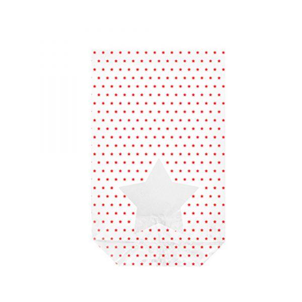 Folienbeutel weiß mit roten Sternchen, mit Sichtfenster, ca. 14,5 x 23,5 cm, 10 Stück, inkl. Clips