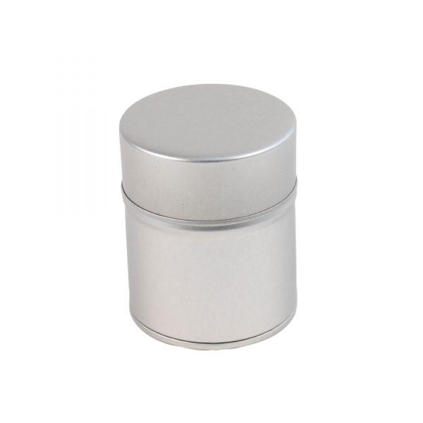Metalldose rund mit Stülpdeckel, Ø 5,5 cm, H 6,5 cm, silber