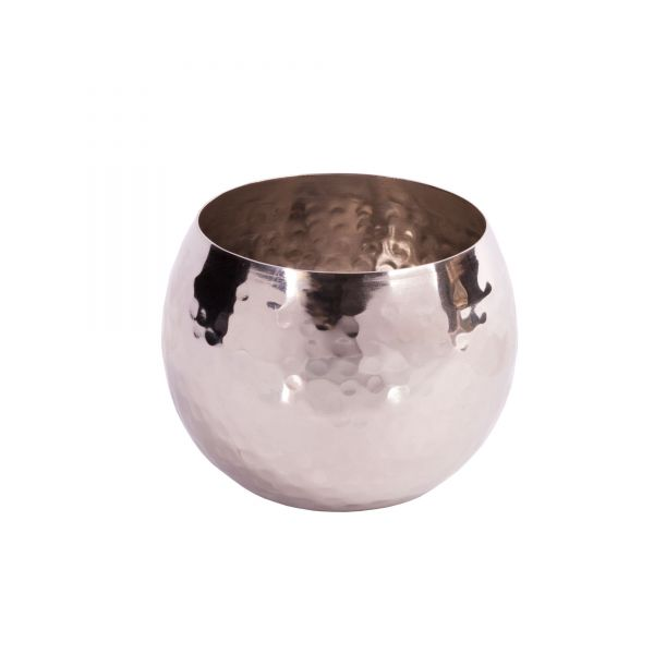 Teelichthalter aus Edelstahl gehämmert, D 7 x H 5,5 cm