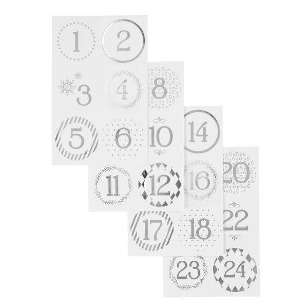 Adventskalenderzahlen rund selbstklebend, silber/weiß